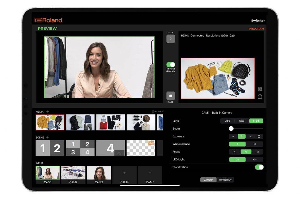 ローランド、ビデオ・スイッチャー用 iPadアプリAeroCaster Switcherを無料配信